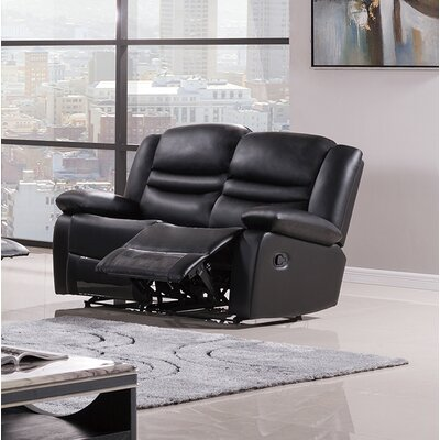 Bayfront Reclining Loveseat Upholstery: Black