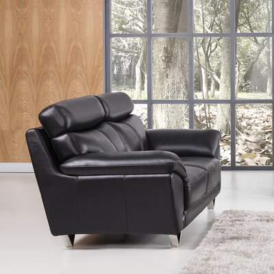 Valencia Leather Loveseat Upholstery: Black