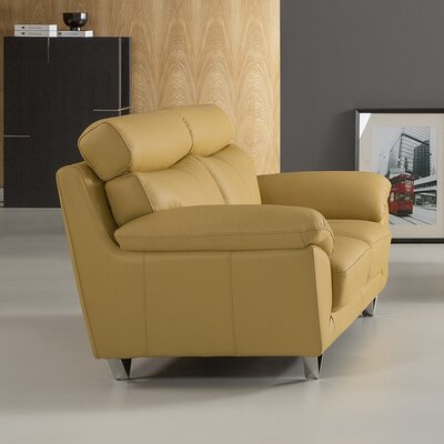 Valencia Leather Loveseat Upholstery: Yellow