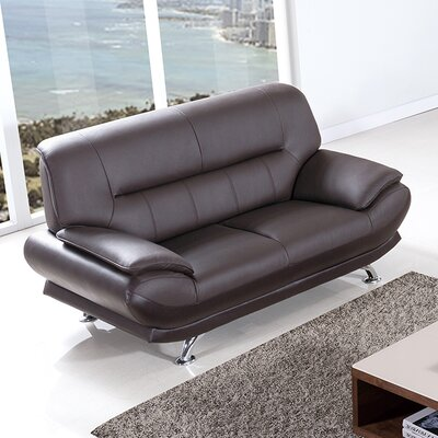 Arcadia Leather Loveseat Upholstery: Dark Chocolate
