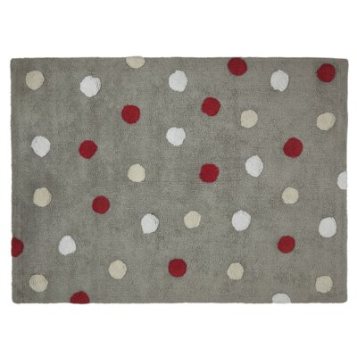 Dots Handmade Gray/Red Area Rug