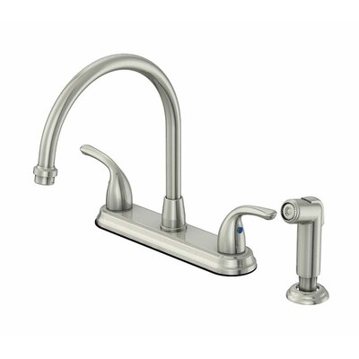 Double Handle Deck Mounted Kitchen Faucet with Side Spray