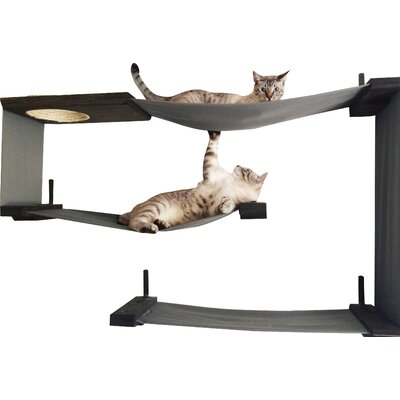 34 Multiple Level Handcrafted Cat Perch Color: Onyx/Charcoal
