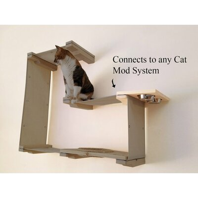 3 Cat Mod Feeder Handcrafted Elevated Wall-mounted Feeder Shelf Cat Tree Color: English Chestnut