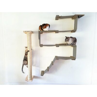 53 Mod Climbing Vertical Sisal Pole Wall-mounted, Handcrafted, Scratched for Playing 4 Piece Cat Tree Set Color: Onyx