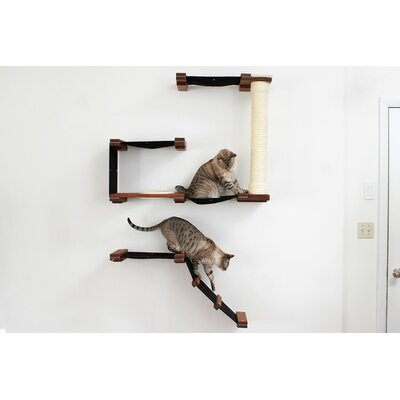60 Mod Deluxe Fort Multiple-level Hammock and Climbing Activity Center Handcrafted Wall-mounted Shelves 10 Piece Cat Tree Set Color: English Chestnut/Natural