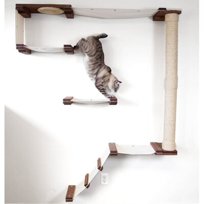 69 Mod Climb Track Multiple-level Hammock and Climbing Activity Center Handcrafted Wall-mounted Shelves 13 Piece Cat Tree Set Color: Onyx/Natural