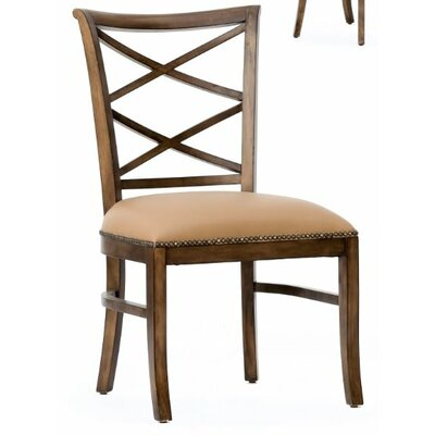 Manhattan Loft Remo Genuine Leather Upholstered Dining Chair (Set of 2) Finish: Light Hazelnut