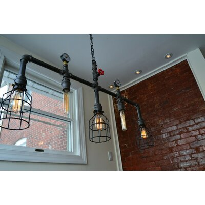 Steampunk 5-Light Kitchen Island Pendant
