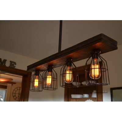 Triple Wood 4-Light Kitchen Island Pendant