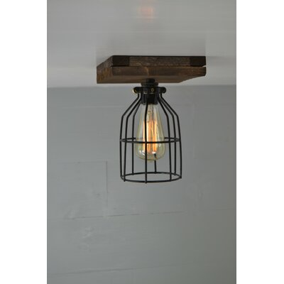 Single Wood 1-Light Semi Flush Mount