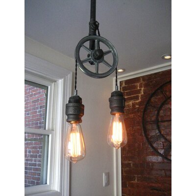 Steel Pulley 2-Light Pendant
