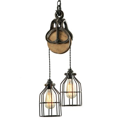 Industrial Wood and Steel Barn 2-Light Cascade Pendant