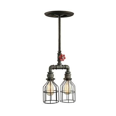 Industrial 2-Light Kitchen Island Pendant