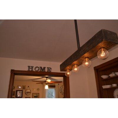 Recessed Wood Beam 4-Light Kitchen Island Pendant