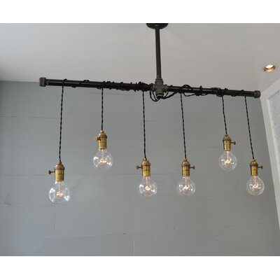 Brass 6-Light Cascade Pendant