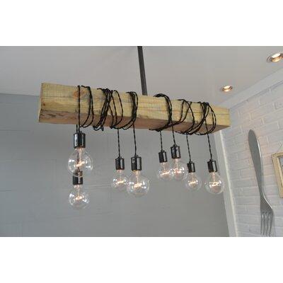 Wood Beam 8-Light Cascade Pendant