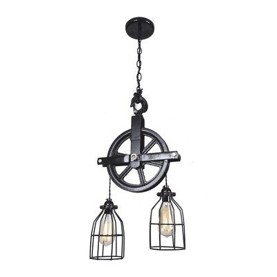 Barn Pulley 2-Light Cascade Pendant Base Finish: Black