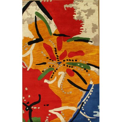 Hand-Tufted Red/Yellow Area Rug