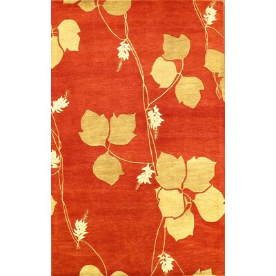 Hand-Tufted Red/Gold Area Rug