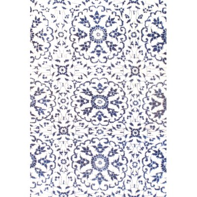 Hand-Knotted White/Blue Area Rug