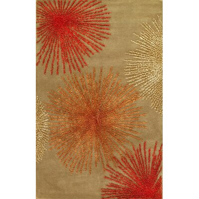 Hand-Tufted Brown/Red Area Rug