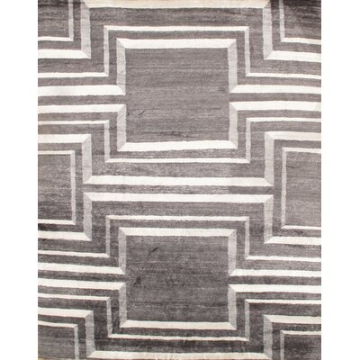 Hand - Knotted Gray Area Rug Rug Size: Rectangle 8 x 10