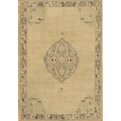 Oushak Hand-Knotted Gold Area Rug