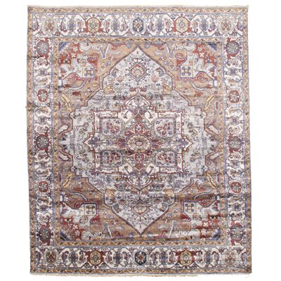 Hand-Knotted Brown/Ice Blue Area Rug