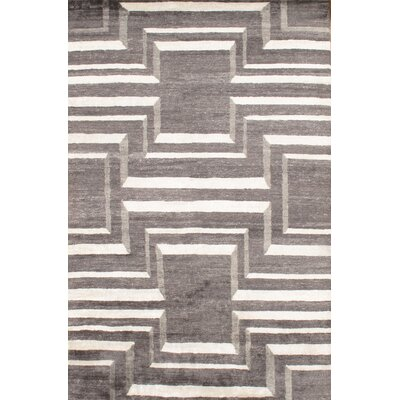 Hand - Knotted Gray Area Rug Rug Size: 6 x 9