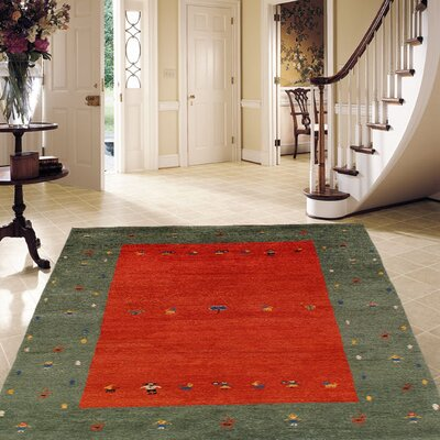 Gabbeh Hand-Knotted Red/Green Area Rug