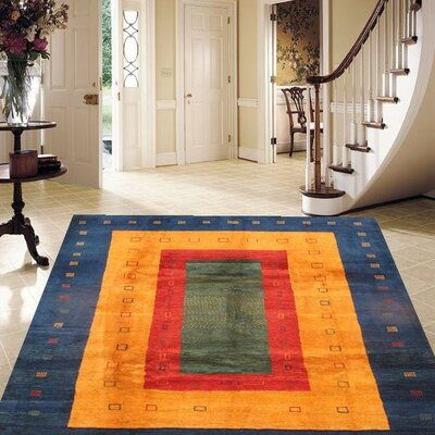 Gabbeh Blue/Yellow Hand-Knotted Area Rug