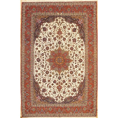 Fine Persian Isfahan Hand-Knotted Brown/Ivory Area Rug