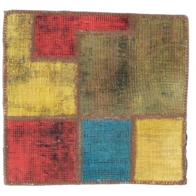 Persian Patch-Work Decorative Hand-Knotted Wool Yellow/Red Area Rug