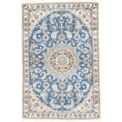 Fine Persian Hand-Knotted Beige/Blue Area Rug