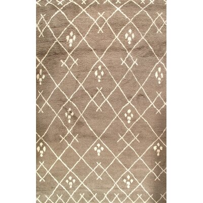 Fine Moroccan Hand Knotted Wool Brown Area Rug