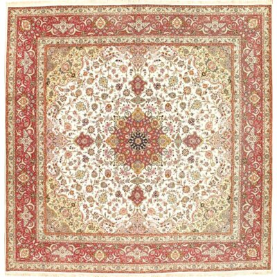 Tabriz Hand Knotted Wool Ivory/Red Area Rug