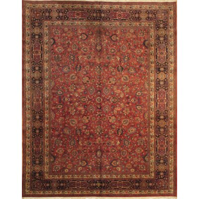 Mashad Hand-Knotted Wool Red/Navy Area Rug