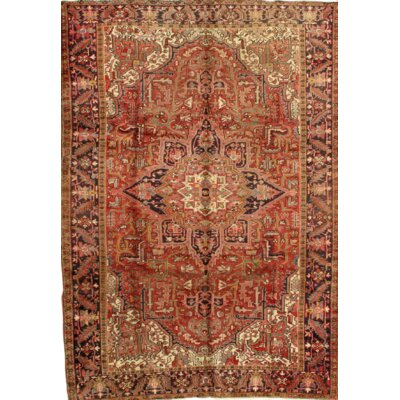 Semi-Antique Persian Heriz Hand-Knotted Wool Rust/Navy Area Rug