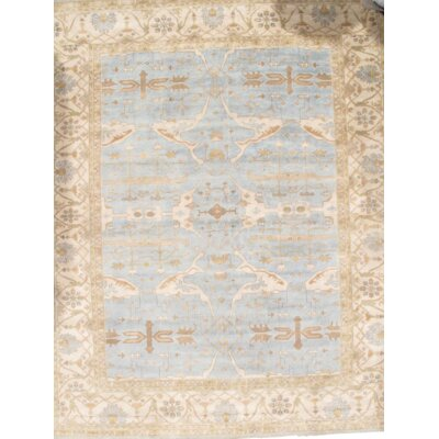 Oushak Original Turkish Design Hand-Knotted Wool Light Blue/Ivory Area Rug