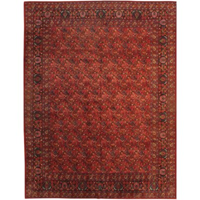 Mashad Persian Hand-Knotted Wool Red Area Rug