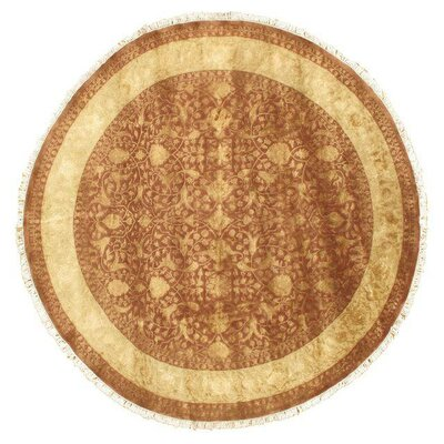 Round Hand-Knotted Wool Brown Area Rug