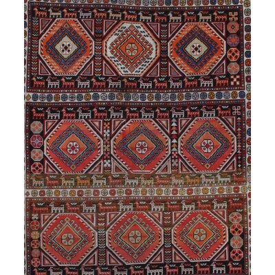 Hand-Knotted Wool Brown/Red Area Rug