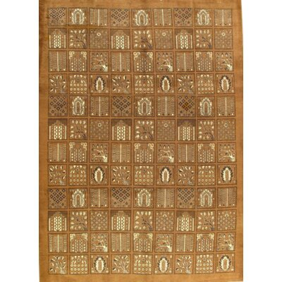Hand-Knotted Wool Brown Area Rug