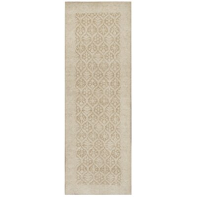 Farahan Hand-Knotted Wool Tan Area Rug
