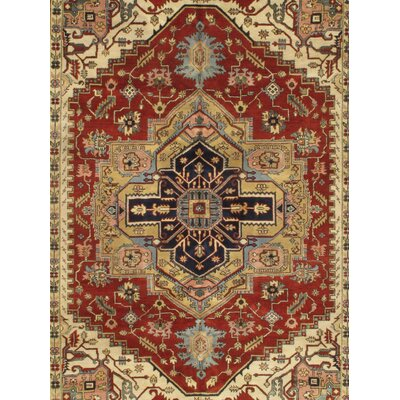 Hand-Knotted Wool Rust/Beige Area Rug