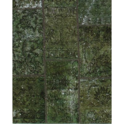 Hand-Knotted Wool Green Area Rug