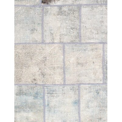 Patch Work Hand-Knotted Wool Silver Area Rug
