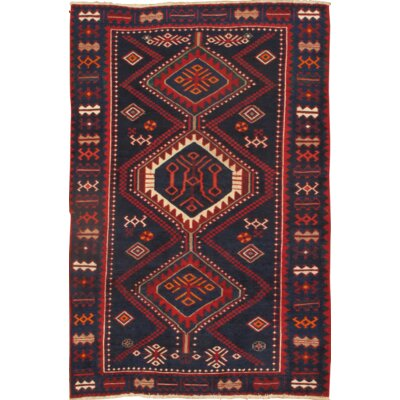 Persian Bakhtiari Hand-Knotted Wool Navy/Red Area Rug