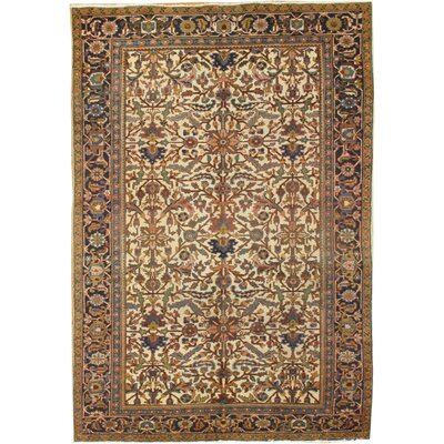 Heriz Antique Hand-Knotted Wool Ivory/Navy Area Rug